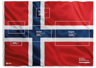 Les drapeaux de la Norwegian Airline